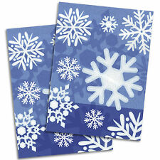 50 Christmas Party Winter Snowflakes Blue Plastic Cellophane Favour Treat Bags