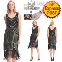 AU2 20's Dress Gatsby Flapper Sequin full skirt Fringe Vintage Party Plus Size