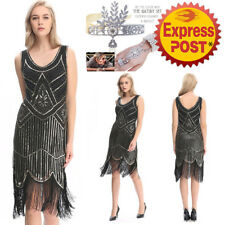 AU2 20's Dress Gatsby Flapper Sequin full skirt Fringe Vintage Party Plus Size