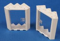 LEGO - 2 x Ecktür Rahmen weiss 4x4x6 m. Tür transparent klar 28327 60616 NEUWARE
