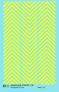 K4 HO Decals Yellow 1/8 Inch 45 Degree Diagonal Barricade Stripes Set