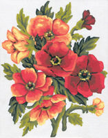 1x Printed Tapestry Thread Canvas Pansies Bouquet Sewing Craft Tool Hobby Art