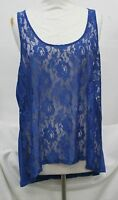 Plus size sleeveless top, lace on front, blue, size 1x or 2X
