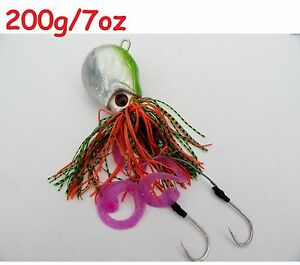 One (1) thunder jigs 7oz /200g green octopus saltwater fishing lures