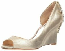 d397c54a437b Badgley Mischka Womens Sz 8 Meagan II Embellished PEEP Toe Wedge Gold