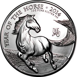 UK Great Britain 1 oz Silver Coin 2014 Lunar Year of the Horse .999 Fine BU