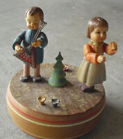 Vintage 1970s Switzerland Made Wood Music Box with Boy and Girl