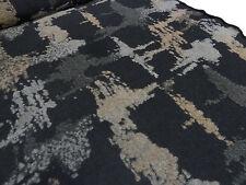 ☻ Stoff Ital. Baumwoll Jersey m. Woll-Tops Abstrakt schwarz grau beige ☻