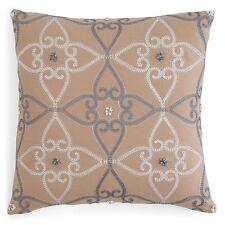 "NEW Sky Medera Tiles Cotton 18"" Square Decorative Pillow TAN Bedding $70 D248"