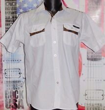 Enyce New York Button Front Mens WHITE Short Sleeve Shirt Size MED Leopard STARS