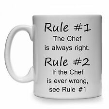 RULE #1 THE CHEF IS ALWAYS RIGHT GIFT MUG CUP PRESENT COOK BAKER PASTRY SOUS