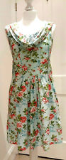 JOE BROWNS Retro Style Floral Short Dress Size 10 Ditsy Holiday Cowl neck Pocket