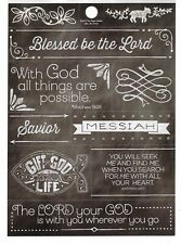 Religious Blessed be the Lord Bible Verse Phrase Cardstock Scrapbook Sticker
