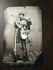 Civil War Military Soldier With Rifle & Backpack tintype C218RP