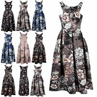 New Ladies Flared Womens Floral Cutaway Neckline Swing Pleated Skater Midi Dress