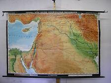 Schulwandkarte Israel Syrien Jordanien Antalya Irak Kuweit Zypern 197x132cm 1971