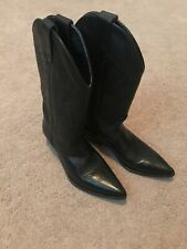 SEYCHELLES Women's Western Black Genuine Leather Cowgirl Boots - Size 7B