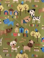 """Puppies 100% Cotton fabric 18"""" by 22"""" FQ For Masks For Children"""
