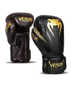 VENUM IMPACT BOXING GLOVES 16 Oz GOLD BLACK Professional Gear