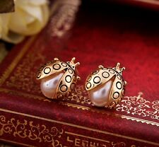 Gold Plated Stud Earrings Cute Jewellery Free Gift Bag Lady Bird Animal Insect