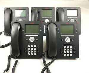 Lot of 5 Avaya 9608 IP VoIP Business Office Telephones Phones - With Stands