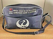 Vintage 1964 Tokyo Olympics Japan Air Lines JAL Travel Bag Tote Duffle Blue