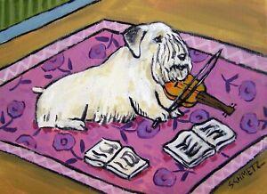 violin art sealyham terrier DOG art POSTER  modern gift 13x19   GLOSSY PRINT