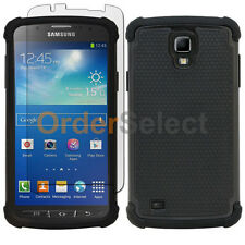 Hybrid Rubber Case+LCD Screen Guard for Samsung Galaxy S4 Active Black 900+SOLD