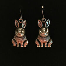 Silver Bunny Rabbit Dangle Drop Earrings with Nickle Free Silver French Ear Hook