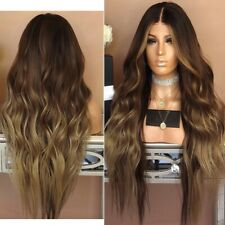 Ombre Black Brown Fashion Synthetic Hair Women Long Curly Hairstyle Wig Cosplay
