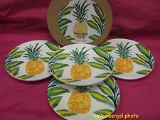 MAGENTA PINEAPPLE CANAPE APPETIZER CAKE PLATE TROPICAL Dishes SET of 4 NEW BOXED