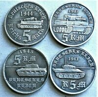 1943/45 WW2 SET OF 4 GERMAN AHITLER COLLECTOR COINS 5 REICHSMARK TANK SERIES