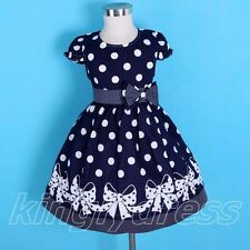 NEW Kid Girl Spring Summer Holiday Polka Dot Dress Navy Blue Child SZ 4-5 Z175B