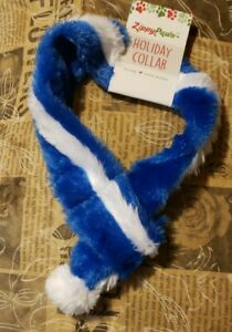 Zippy Paws Holiday Winter Scarf Fuzzy Blue & White AdoRaBLe!!!! Dog Scarf Size S