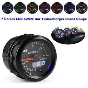 52MM 7 Colors LED Car Turbo Boost Gauge Digital & Pointer Vacuum Pressure Meter