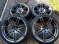 """Genuine Audi 20"""" A5 S5 RS5 A7 Alloy Wheels Dark Edition x4 Tyres Q5 RS4 RS6 Q3"""