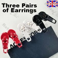 WHITE/RED/BLACK ZIP zipper studs STUD EARRINGS goth emo PUNK gothic RETRO KITCH