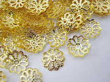 100 Bead Caps Gold Brass Flower Caps (8mm) Bead Ends Jewellery Making Findings