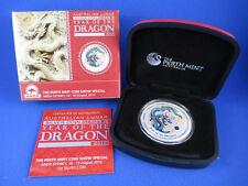 2012 1oz SILVER COLOURED COIN. AUSTRALIAN LUNAR - YEAR OF THE DRAGON - ANDA BLUE