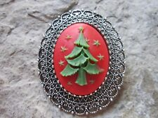 2 IN 1 CHRISTMAS TREE CAMEO SILVER BROOCH / PIN / PENDANT - HOLIDAY - RED