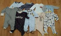 Newborn Baby Boy Clothing Romper One Piece Bodysuit Sleeper Used LOT 9