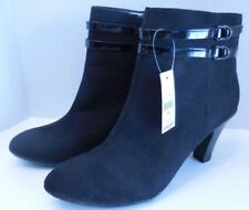 """NEW GEORGE FRANKIE BLACK CHUNKY 3.5"""" HEEL ANKLE BOOTS WOMEN SIZE 11"""