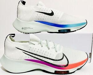 Nike Air Zoom Tempo Flyknit(GS) Shoes Sz(5Y/6.5W) Wht/Blk/Violet CJ2102-100 NIB