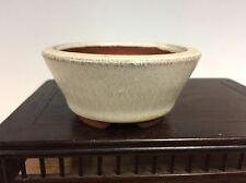 White Glazed Shohin, Mame, Accent Size Bonsai Tree Pot By Eimei Tokoname 3 1/4""