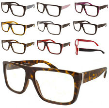 Mens Womens Flat Top Clear Lens Eye Glasses Thick Sqaure Frame