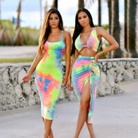 Womens 2 Piece Crop Top + Bodycon Skirt Set Ladies Holiday Party Tie-dyed Dress