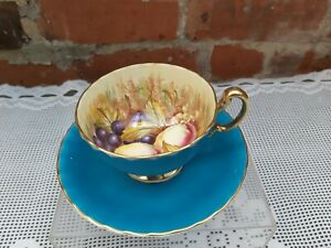 Aynsley Orchard gold Turquoise cup and saucer
