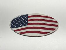 Oval Oblong Shape American Flag USA Patch Red White Blue Stars Stripes Flat A