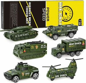 Die-cast Metal Playset Military Vehicles, 6 Pcs Army Car Toy Set For Kids