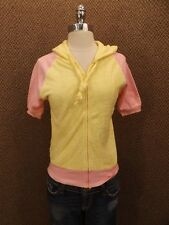 NEW Vtg 80s Pink & Yellow Terry Cloth Sporty Hooded Zip Down Raglan Summer Top S